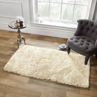 Sienna Shaggy Floor Rug Large Plain Soft Sparkle Mat Thick 5cm Pile Cream Ivory