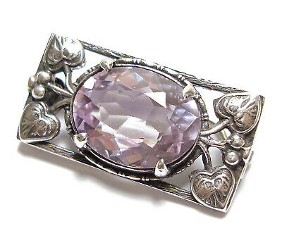 Beautiful Vintage Or Antique Silver & Amethyst Brooch Pin Af (B19)