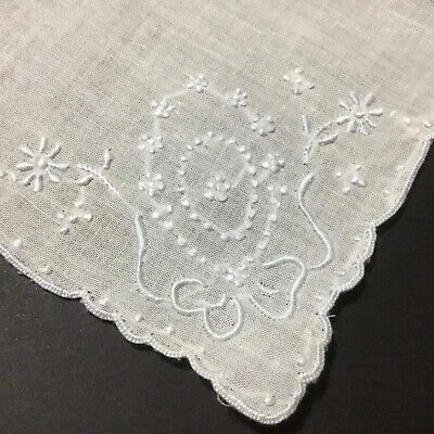 Vintage / Antique Embroidered Handkerchief ~ Very Pretty For Wedding, Etc