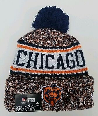 186a71cbe New Era Chicago Bears Knit Hat On Field Cap Pom Beanie Winter Toque NEW TAGS