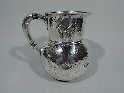 Tiffany Water Pitcher - 3077 - Hand Hammered Sterling Silver & Mixed Metal