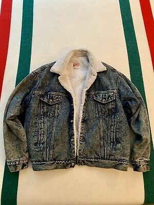 VINTAGE LEVIS DENIM SHERPA LINED JACKET MENS BLUE  SZ LARGE 48 VINTAGE 70s USA