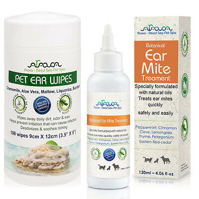 Natural Dog Ear Cleaner Infection Mites Treatment Wipes for Puppy Cat Arava