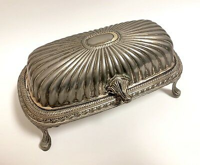 Vintage Silver Plated Butter Dish Hong Kong Antique