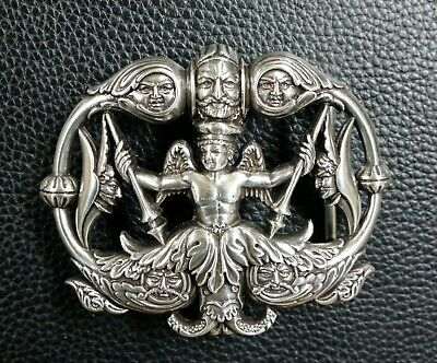 Art Nouveau Celestial Neptune With Wings And Faces 3D Belt Buckle New