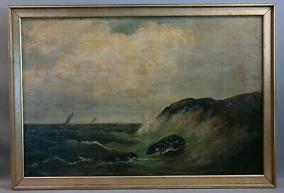 19thC Antique VICTORIAN Era SEASCAPE Old WAVES on ROCKS Sailing SHIP PAINTING