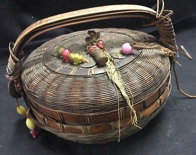 VINTAGE HANDMADE CHINESE SEWING BASKET GLASS BEADS & Chinese Coins