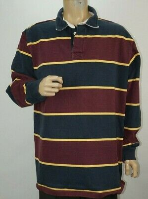 f8035cdd Vintage Mens LL Bean Heavy Cotton Color Block Striped Rugby Shirt Size XL  Tall