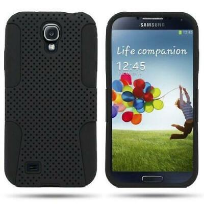 ShockProof Hybrid Black Mesh Dual Layer Cover Case for Samsung GALAXY S4 i9500