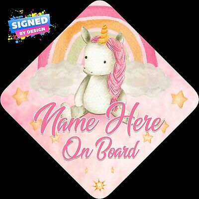 Watercolour Personalised Baby Unicorn Floral Child/Baby on Board Car Sign New