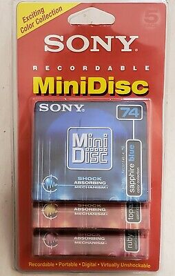 Sealed Sony Recordable MiniDisc 5 Pack 74 Minute Color Collection MDW 74EB