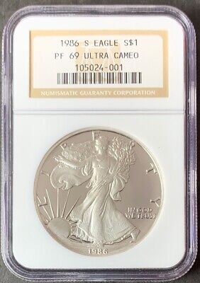 1986 S $1 Proof American Silver Eagle Dollar NGC PF69 Ultra Cameo