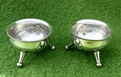 STYLISH PAIR OF VINTAGE DANISH SILVER-PLATED CAULDRON SHAPED OPEN SALTS c1960's