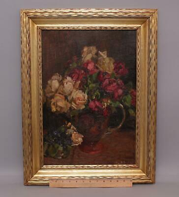 Antique Early 20thC American Impressionist Roses Flowers Still Life Oil Painting