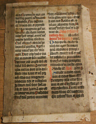 Decorated 15th-century German medieval manuscript Missal leaf, in Latin Gothic