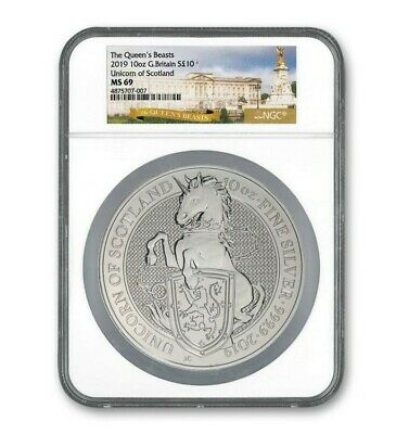2019 Great Britain 10 oz Silver Queen's Beasts (Unicorn of Scotland) MS69 NGC