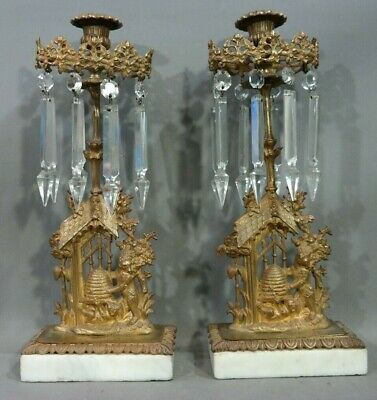 19thC Antique GILT BRONZE Bees BEEHIVE & BEAR Statue CRYSTAL Old CANDLESTICK