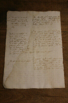 1520 Large medieval manuscript handwritten from lord land castle farm Oncial