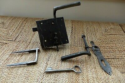 Vintage/antique beautiful large metal door lock with key working farm barn 04-14