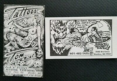 2 vintage 1970s & 1980s mississippi ms tattoo shop tattoo business cards