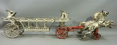 1920's Antique CAST IRON Old HORSE Drawn HOOK & LADDER FIRE WAGON Kids TRUCK TOY
