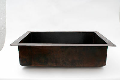 "33x22x9"" Drop-in Single Well Hammered Copper Kitchen Sink"