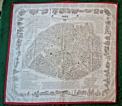1875-79 Linen SCARF MAP OF PARIS RENAULT and BUQUET FOULARD GUIDE RARE