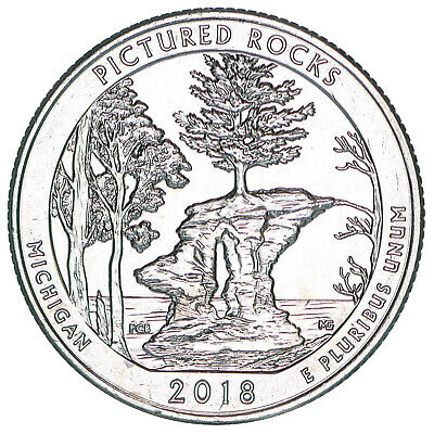 2018 D Parks Quarter ATB Pictured Rocks National Lakeshore BU CN-Clad US Coin