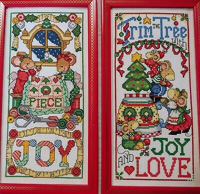 Vintage Cross Stitch Christmas Mice Trim The Tree & Joy Finished Framed Picture