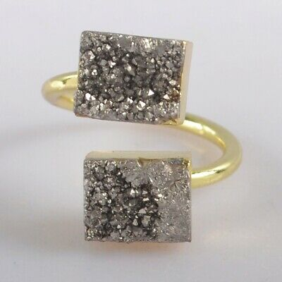 Size 6.75 Natural Agate Titanium Druzy Adjustable Ring Gold Plated B077974