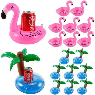 8 Flamingo Palm Swimming Pool Inflatable Drink Can Beer Beverage Holder Boat Toy