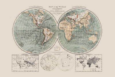 1869 World Hemispheres and Natural Features Antique Style Map Poster 18x12 inch