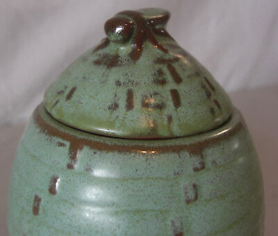 Early Frankoma Pottery Plainsman Matte Green Honey Pot