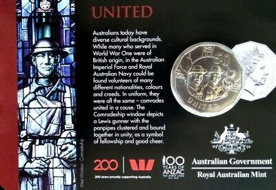 Australia  2018 The Anzac Spirit Values  Collection CARDED 50c Coin  - UNITED