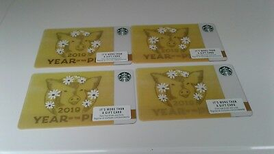 4 Starbucks Chinese Year of the Pig 2019 Lunar Gift Cards, Collectible, Mint