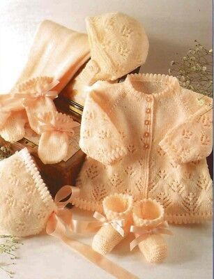 Baby Knitting Pattern copy in 4 Ply GORGEOUS Lacy Designs