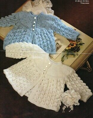 Baby knitting pattern copy PREMMIE Babies Matinee Jackets  4 Ply