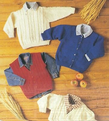 Knitting Pattern Toddlers Sweater Cardigan Waistcoat Cable Design 8 Ply