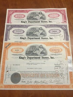 KING'S DEPARTMENT STORES, INC. - Old share stock certificates - dated 1964