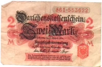 1914 German Empire Kaiser  2 Mark Banknote