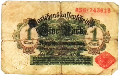 1914 German Empire Kaiser  1 Mark Banknote