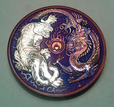 2018 Australia  Dragon & Tiger 1oz Silver Coin with Beautiful toning. *Must See.