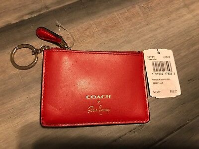 New Coach Coin Purse key chain card wallet Selena Gomez *LIMITED EDITION* Red
