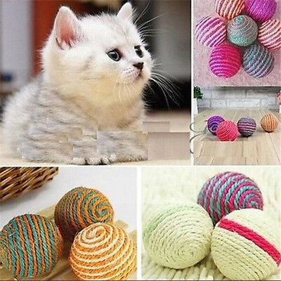 Pet Dog Cat Kitten Teaser Playing Chew Rattling Sound Toys Rope Ball x1