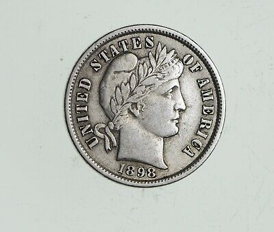 Higher Grade - 1908 Barber Liberty US Silver Dime - Great Detail in LIBERTY *620