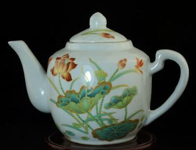 Old Chinese Hand-Made Pastel Porcelain Hand Painted Lotus Teapot B02