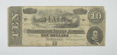 Hand SIGNED 1864 $10.00 Confederate States of America - Authentic Civil War *542