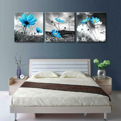 BLUE FLOWER LANDSCAPE Canvas Art Print for Wall Decor and Painting of Scenic Vie