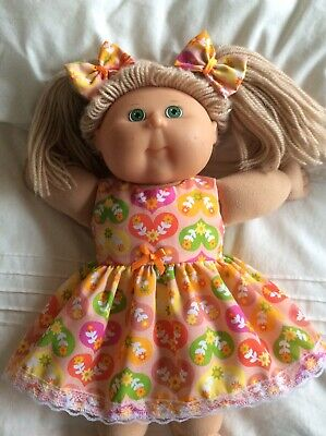 "DOLLS CLOTHES - DRESS & BOWS to fit 16"" CABBAGE PATCH ~ Peach / Hearts"