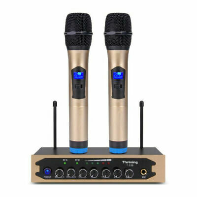 UHF Wireless Microphone System 2 Handheld Dynamic Mic Bluetooth TV Karaoke RCA